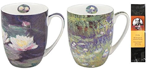 2 Coffee or Tea Mugs, Monet Water Lilies in a Matching Gift Box Bundle with 1 Gift Package of 6 Tea Bags (Monet Tea Set)