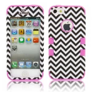 3-in-1 Black and White Wavy Grain Style Full Set Protective Case for iPhone 5/5S Purple