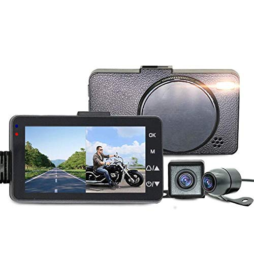 Layopo Motorcycle Recorder, IP68 Waterproof 720p Front and Rear Double Camera 120 Degree Angle Night Vision Dash Cam Recorder with 3.0