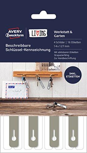 Avery Zweckform 62030 Living Schlüssel Kennzeichnung (16 Etiketten, 4 Schilder, beschreibbar, 14 x 127 mm) grau/weiß