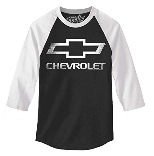 - Tee Luv Chevrolet Logo Raglan Jersey - Chevy 3/4 Sleeve Shirt (Small) Black and White