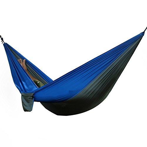 Travel Camping Hammock Portable Parachute Nylon Fabric for Hiking, Boating, Sleeping, Backpacking, Climbing (Darkblue, 275cm × 140cm)