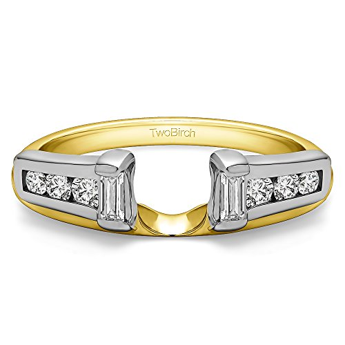 (Solitaire Ring Wrap Enhancer Set in Multi-Tone Gold Set with CZ(0.45Ct) Size 3 to 15 in 1/4 Size Interval)