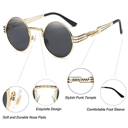 8e90bae9326 Dollger John Lennon Round Sunglasses Black Steampunk Glasses Gold Metal  Frame Mirror Lens Sunglasses