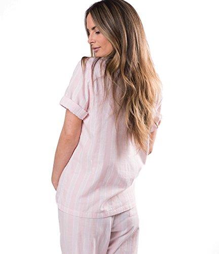 Naked Women's Double Gauze Cotton Pajama Set, Belair Blush Pin Stripe, Extra Small by Naked (Image #1)