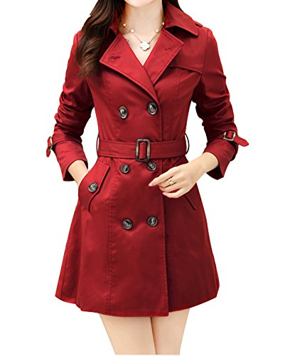 FV RELAY Womens Turn Down Collar Double Breasted Slim Long Trench Coat with Belt (M,Wine Red)