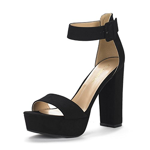 DREAM PAIRS Women's Hi-Lo Black Suede High Heel Platform Pump Sandals - 11 M US