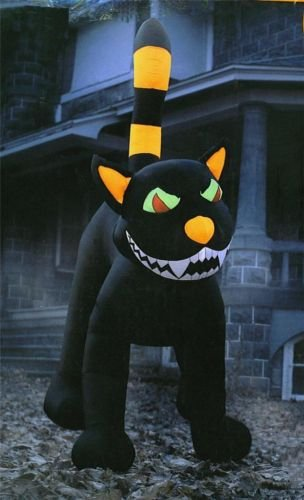 Halloween 9 39 animated outdoor inflatable black cat for Christmas cat yard decorations