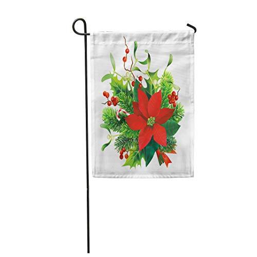 - Semtomn Garden Flag Green Christmas Fir Mistletoe Holly Branches and Poinsettia Flower 12