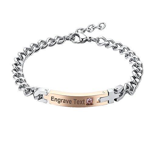GAGAFEEL Crystal Bracelet Men Women Custom Engraved Stainless Steel Couple Wrist Bangles (Women-Rose (Gold Family Name Bracelet)