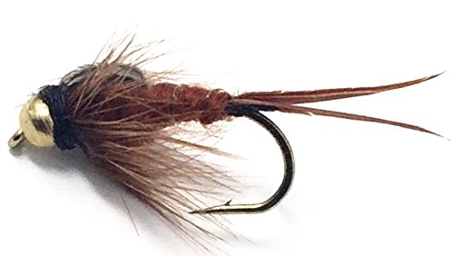 Feeder Creek Brown Bead Head Stonefly Nymph Fly Fishing Trout Flies - One Dozen Wet Flies - 3 Size Assortment 12,14,16 (4 of Each Size)