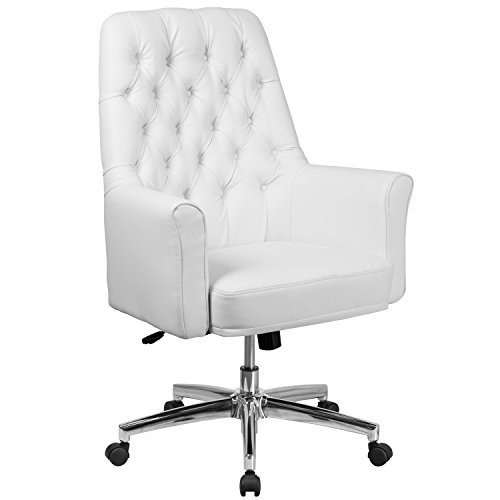 Flash Furniture Mid-Back Traditional Tufted White Leather Executive Swivel Chair with Arms