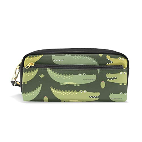 Leather Pen Case Pencil Bag Case with Cartoon Alligator Stationery Pouch Cosmetic Makeup Bag