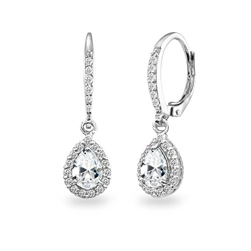 Cubic Drop Earrings Zirconia - Sterling Silver Cubic Zirconia Teardrop Dangle Halo Leverback Earrings