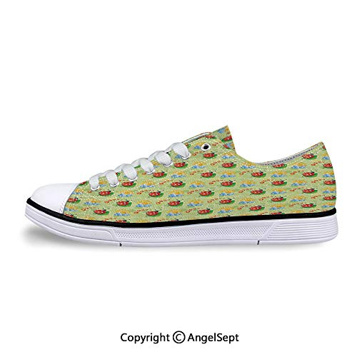 Sneaker with Flowers and Ladybugs Cute Flat Canvas Shoes for -