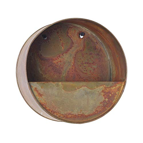(Round Wall Pocket Basket Planter with Faux Rust Finish,)