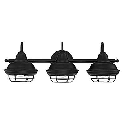 "Designers Impressions Charleston Matte Black 3 Light Wall Sconce/Bathroom Fixture: 10011 - Style Name: Charleston --- Light Style: Beach Finish: Matte Black ----- Glass: None Length: 24-1/2"" ----- Tall: 9-1/8"" ------ Projection: 9"" - bathroom-lights, bathroom-fixtures-hardware, bathroom - 41n6BNg76OL. SS400  -"