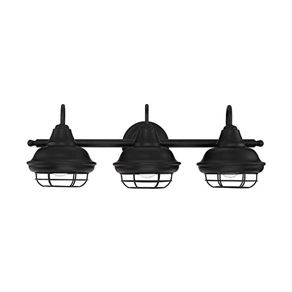 "Designers Impressions Charleston Matte Black 3 Light Wall Sconce/Bathroom Fixture: 10011 - Style Name: Charleston --- Light Style: Beach Finish: Matte Black ----- Glass: None Length: 24-1/2"" ----- Tall: 9-1/8"" ------ Projection: 9"" - bathroom-lights, bathroom-fixtures-hardware, bathroom - 41n6BNg76OL. SS570  -"