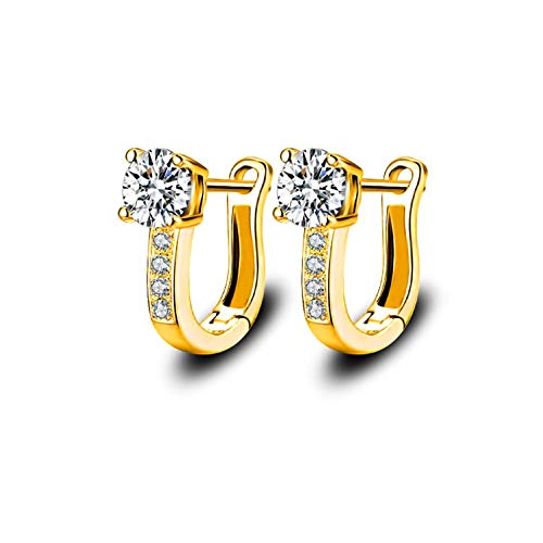 Gold Plated U Shaped Cubic Zirconia Small Hoop Earrings for Women Girls Fashion CZ Studs Hoops Jewelry ()
