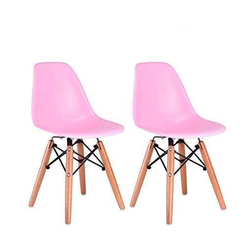 Costzon Set of 2 Kids Dining Chair, Modern Molded Shell Chair with Dowel Wood Eiffel Legs (Pink) For Sale