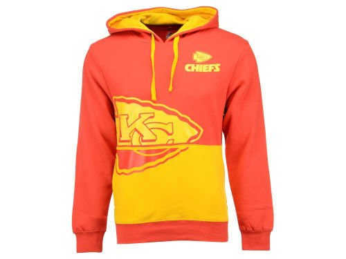 Majestic Kansas City Chiefs Adult Small Coin Toss Hoodie Hooded Hoodie Pullover Sweatshirt - Double Logo Red & Gold
