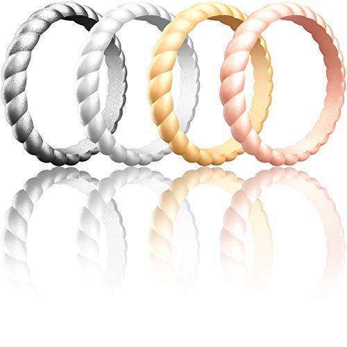 ThunderFit Women Swivel Rings 4Pack and Singles Silicone Wedding Rings (Gold, Silver, Dark Silver, Rose Gold, 7.5-8 (18.2mm))