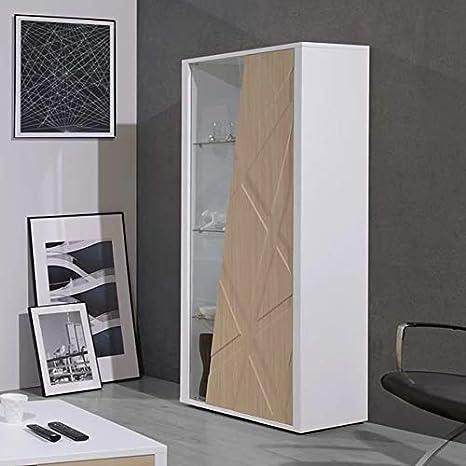 Vetrina Moderna Bianca.Vetrina Moderna Bianca E Colore Rovere Architecte Amazon It