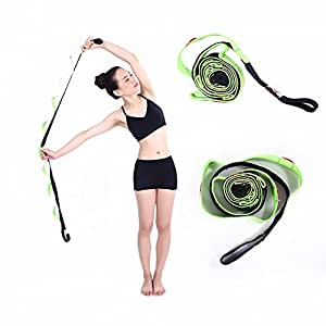 Kottle 10 Fixed Loops Anti-slip Durable Cotton Yoga Strap, Multi-grip Stretching Strap for Flexibility and Physical Therapy Fitness Exercise (Green)