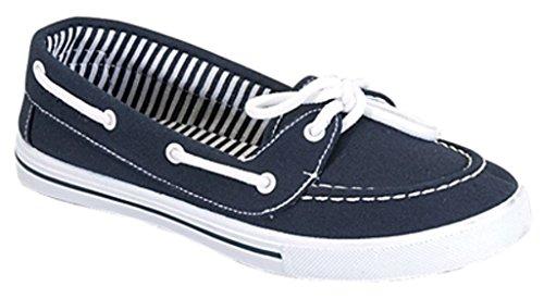 Verrukking Canvas Veter Platte Slip Op Boot Comfortabele Ronde Neus Sneaker Tennisschoen Marine Blauw