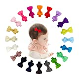Ruyaa Tiny 2'' Hair Bows Fully Lined Hair Clips for Baby Fine Hair Infants Toddlers