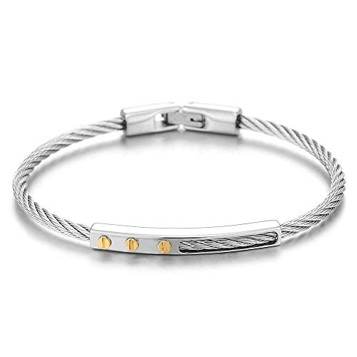 - COOLSTEELANDBEYOND Mens Womens Steel Gold Color Screw Head ID Identification Twisted Cable Thin Bangle Bracelet