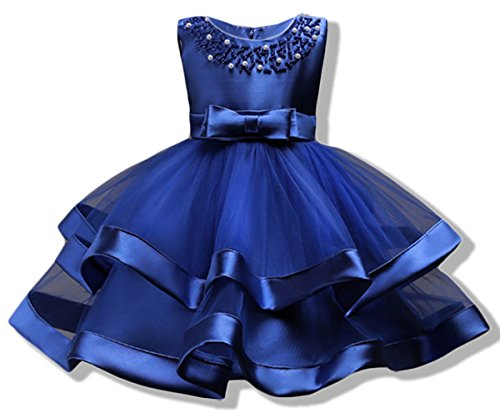 AYOMIS Girls Lace Bridesmaid Dress Wedding Pageant Dresses Tulle Party Gown Age 3-9Y(Blue,7-8Y) by AYOMIS