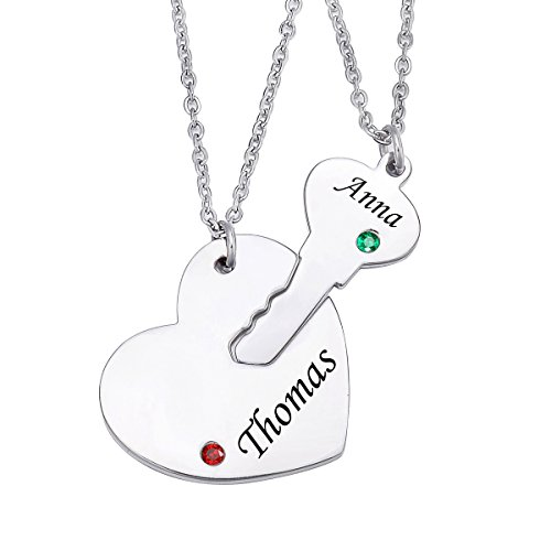 Valyria Stainless Steel Personalized Key Heart Puzzle Necklace