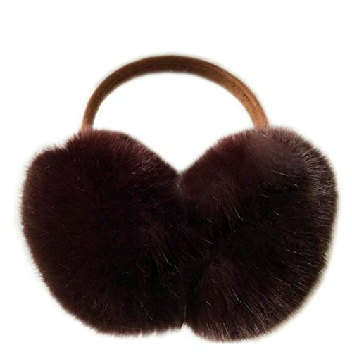 Joyci Large Winter Real Wool Fur Earmuffs Wrap Around Ear Warmers Headband Solid Color (coffee)