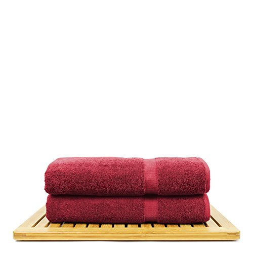 BC BARE COTTON Bare Cotton Luxury Hotel & Spa Towel Turkish Bath Sheets Dobby Border (Cranberry, Bath Sheets - Set of 2) by BC BARE COTTON (Image #2)