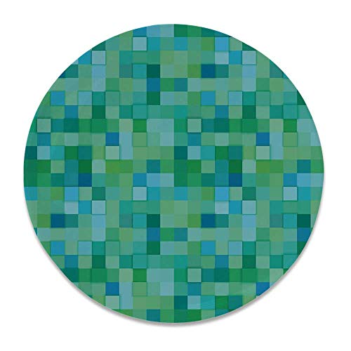 YOLIYANA Teal Ceramic Decorative Plate,3D Cube Pattern Abstract Squares Vibrant Colored Geometric Shapes Design Modern for Home Décor,7 inch