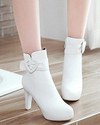 Aisun White Platform Women's Shoes Block Up Graceful Heels Boots Zip High rqrwvR
