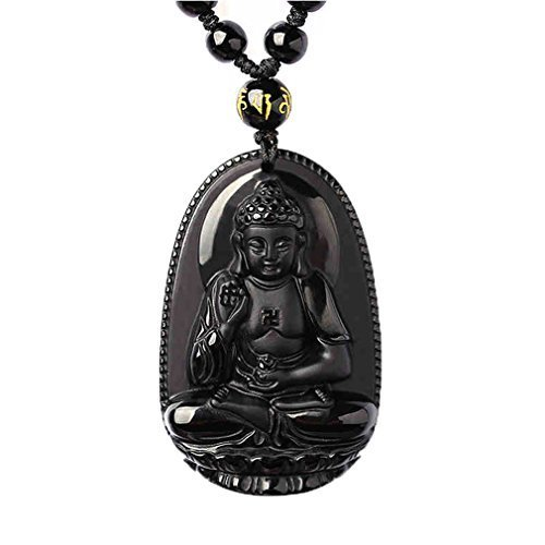 Natural Obsidian Handmade Buddha Pendant Necklace