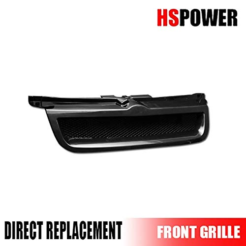 HS Power Black Finished Aluminum Mesh Badgeless Front Hood Bumper Grill Grille for 1999-2005 Volkswagen Jetta/Bora MK4