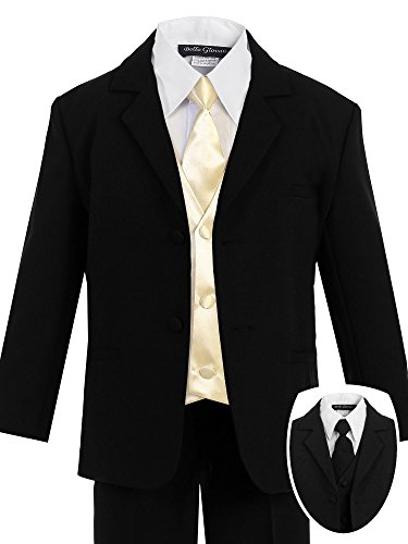 Lined Satin Suit - Bello Giovane Boys Black Formal Suit with Satin Colored Vest 7 Piece Set (5, Champagne)