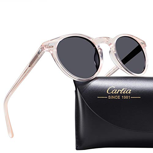Carfia Vintage Polarized Sunglasses for Women UV400 Protection Lens Acetate Frame, Light Pink Frame Grey Lens, One Size