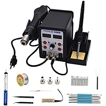 TXINLEI 898D 110V Solder Station, 2 in 1 SMD Hot Air Rework Station Solder Gun and Soldering Iron with 12pcs Soldering Tips,Tweezers, Solder Wire, ...