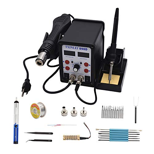 - TXINLEI 898D 110V Solder Station, 2 in 1 SMD Hot Air Rework Station Solder Gun and Soldering Iron with 12pcs Soldering Tips,Tweezers, Solder Wire, Desoldering Pump