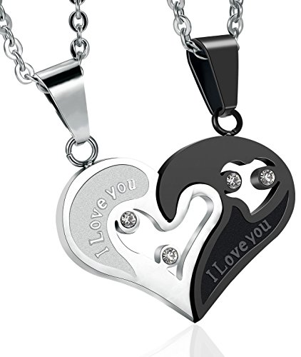 FIBO STEEL Stainless Steel Mens Womens Pendant Necklace Heart Puzzle 22 Inches Chain 2 Pcs a Set