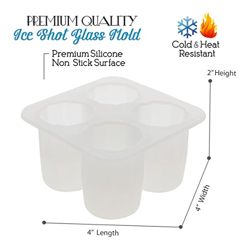 Elbee Home 630 Silicone Jolly Rancher or Ice Shot Glass Mold White Makes 4 Cups Square