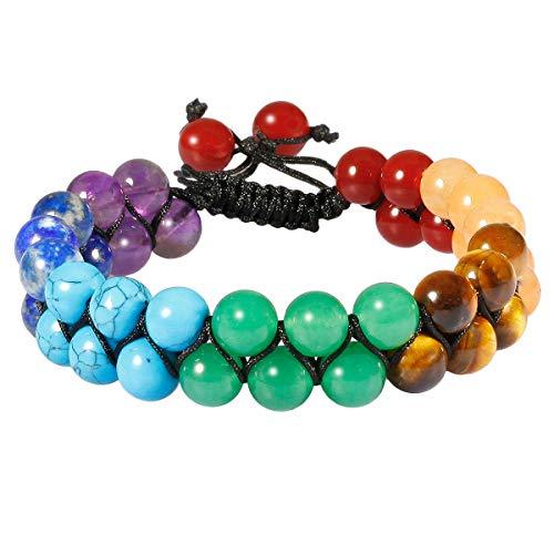 TUMBEELLUWA Beaded Bracelet Stone 8mm Double Layers Adjustable Meditation Power Healing Crystal Bracelets,7 Chakra Stones