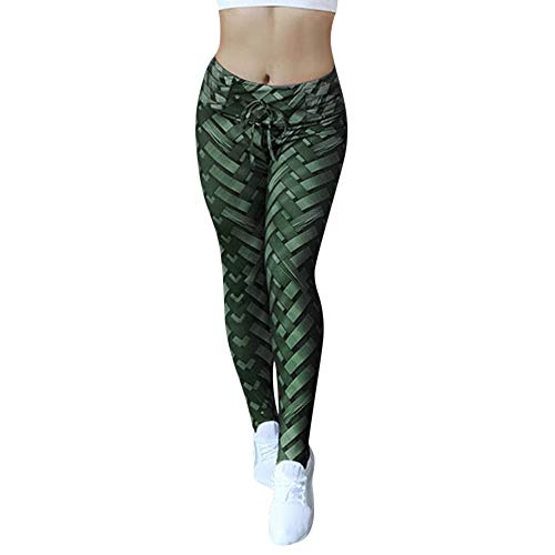 (iLUGU Womens Hight Waist Yoga Shanto Work Out Pants Print Shiny Leggings Yoga Running Stretch Sports Trouser Green)