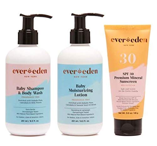 Evereden Outdoor Essentials Collection – Organic Baby Shampoo & Baby Wash, Natural Lotion, Organic Mineral Sunscreen – The Best Baby Essentials for Newborn Babies