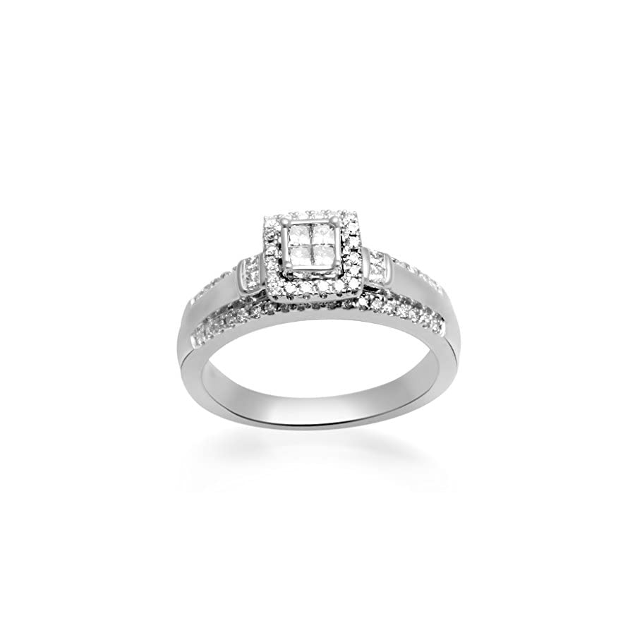 Jewelili 10KT White Gold Quad Princess and Round Diamond Engagement Ring, 1/2 Cttw, Size 8