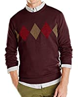Van Heusen Mens Classic Fit Argyle Crew Neck Sweater Burgundy Corazon